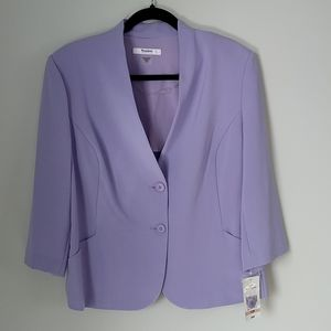 TanJay 3/4 sleeve 2 button violet bloom blazer size 12 petite NWT